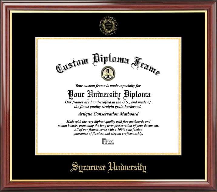 College - Syracuse University Orange - Embossed Seal - Mahogany Gold Trim - Diploma Frame