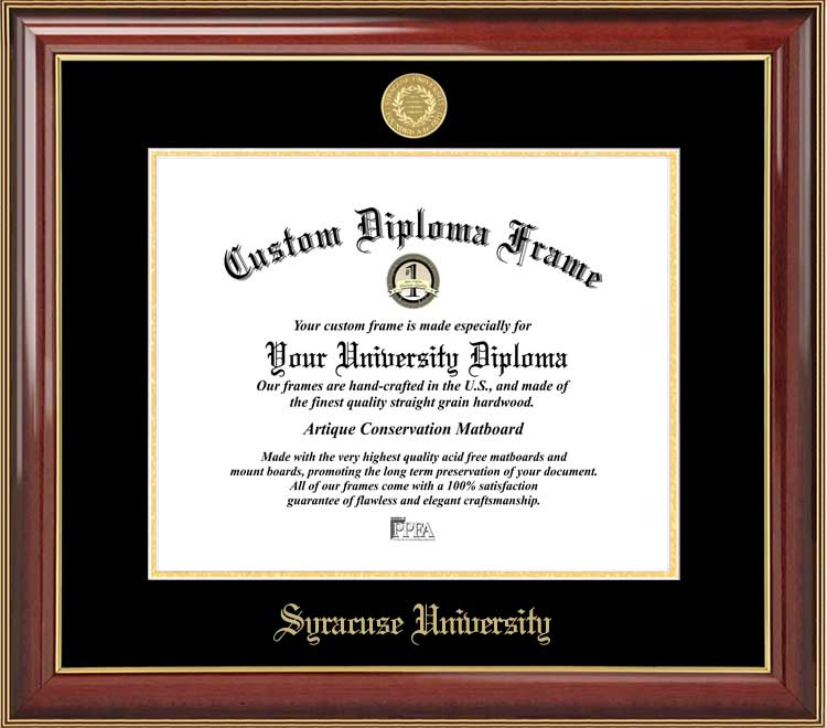 College - Syracuse University Orange - Gold Medallion - Mahogany Gold Trim - Diploma Frame