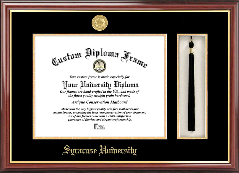 College - Syracuse University Orange - Gold Medallion - Tassel Box - Mahogany - Diploma Frame