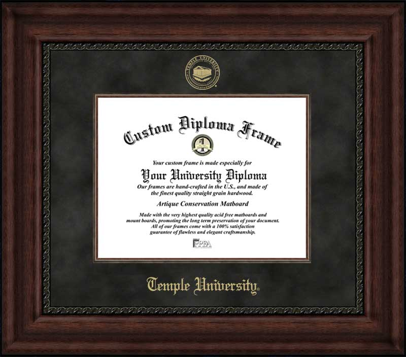 College - Temple University Owls - Embossed Seal - Suede Mat - Mahogany - Diploma Frame