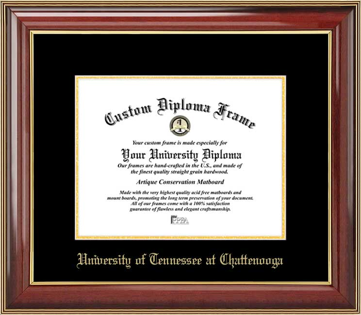 College - University of Tennessee at Chattanooga Mocs - Embossed Seal - Mahogany Gold Trim - Diploma Frame