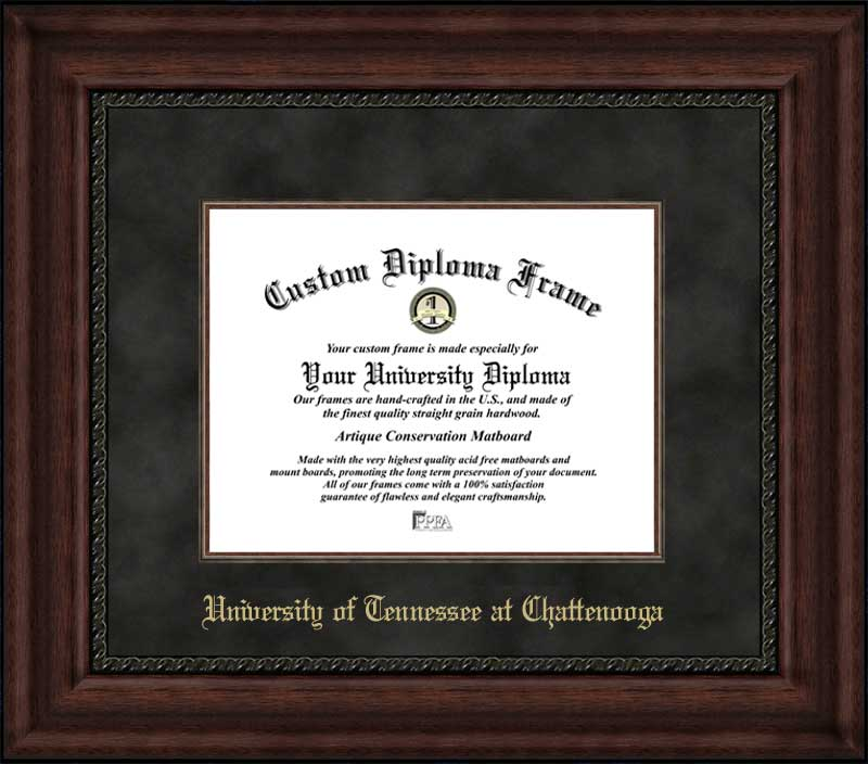 College - University of Tennessee at Chattanooga Mocs - Embossed Seal - Suede Mat - Mahogany - Diploma Frame