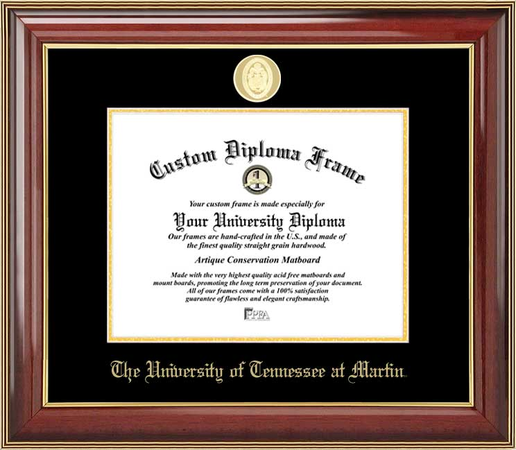 College - University of Tennessee at Martin Skyhawks - Gold Medallion - Mahogany Gold Trim - Diploma Frame