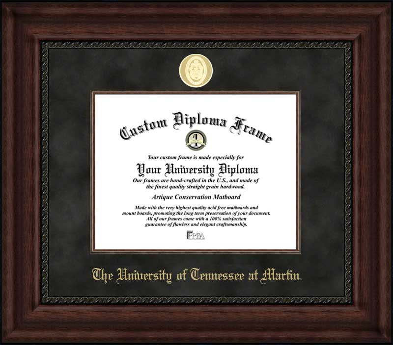 College - University of Tennessee at Martin Skyhawks - Gold Medallion - Suede Mat - Mahogany - Diploma Frame