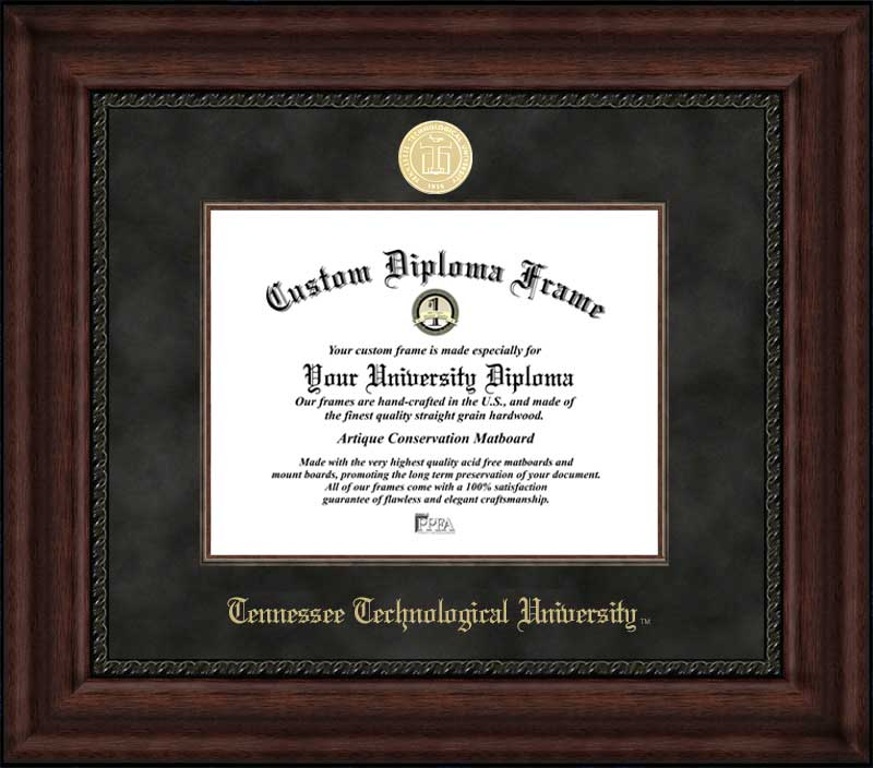 College - Tennessee Technological University Golden Eagles - Gold Medallion - Suede Mat - Mahogany - Diploma Frame