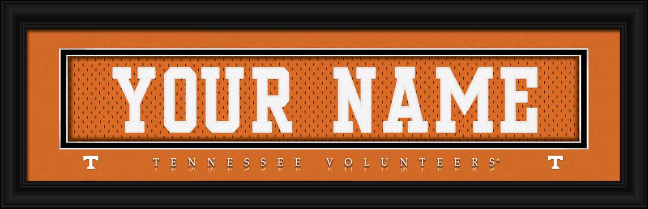 College - Tennessee Volunteers - Personalized Jersey Nameplate - Framed Picture