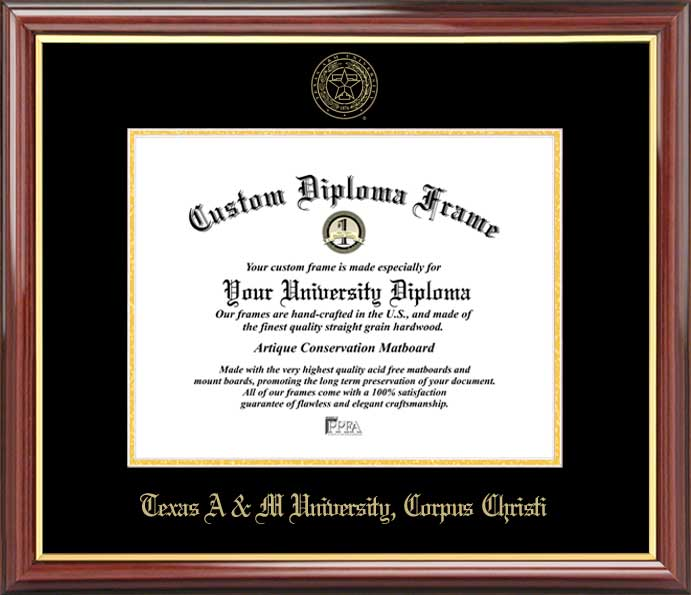 College - Texas A&M University Corpus Christi Islanders - Embossed Seal - Mahogany Gold Trim - Diploma Frame