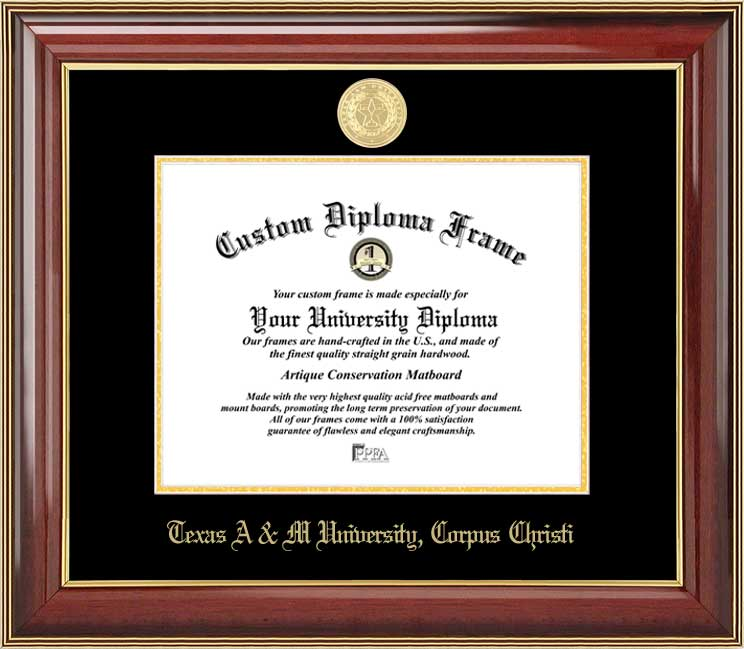 College - Texas A&M University Corpus Christi Islanders - Gold Medallion - Mahogany Gold Trim - Diploma Frame