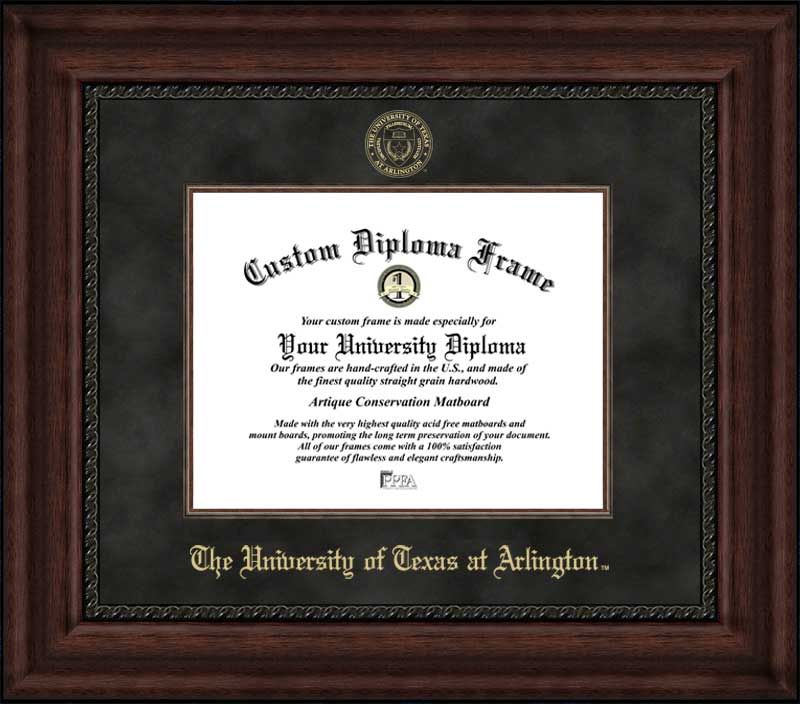 College - University of Texas at Arlington Mavericks - Embossed Seal - Suede Mat - Mahogany - Diploma Frame