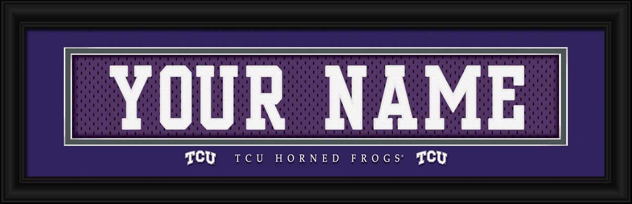 College - Texas Christian Horned Frogs - Personalized Jersey Nameplate - Framed Picture