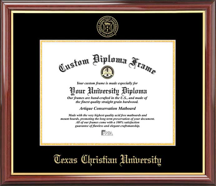 College - Texas Christian University Horned Frogs - Embossed Seal - Mahogany Gold Trim - Diploma Frame