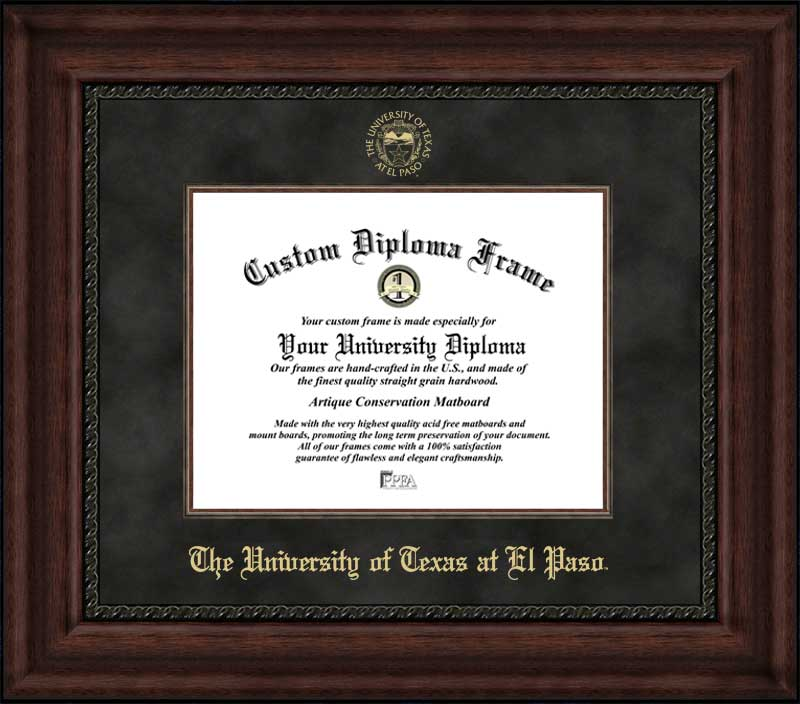 College - University of Texas at El Paso Miners - Embossed Seal - Suede Mat - Mahogany - Diploma Frame