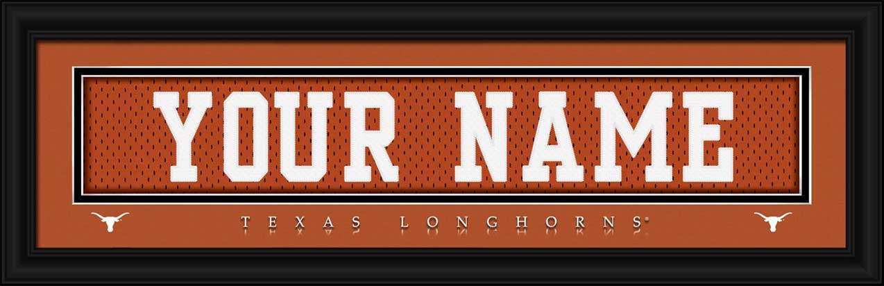 College - Texas Longhorns - Personalized Jersey Nameplate - Framed Picture