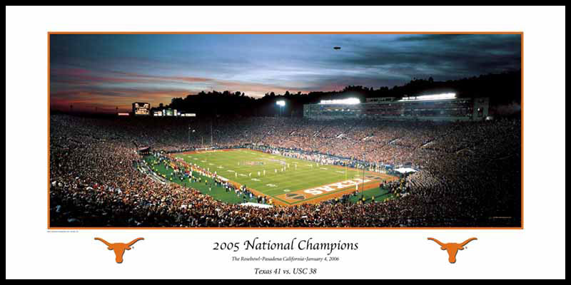 College - Texas Longhorns - 2005 Rose Bowl National Champions - Wood Mounted & Laminated Print