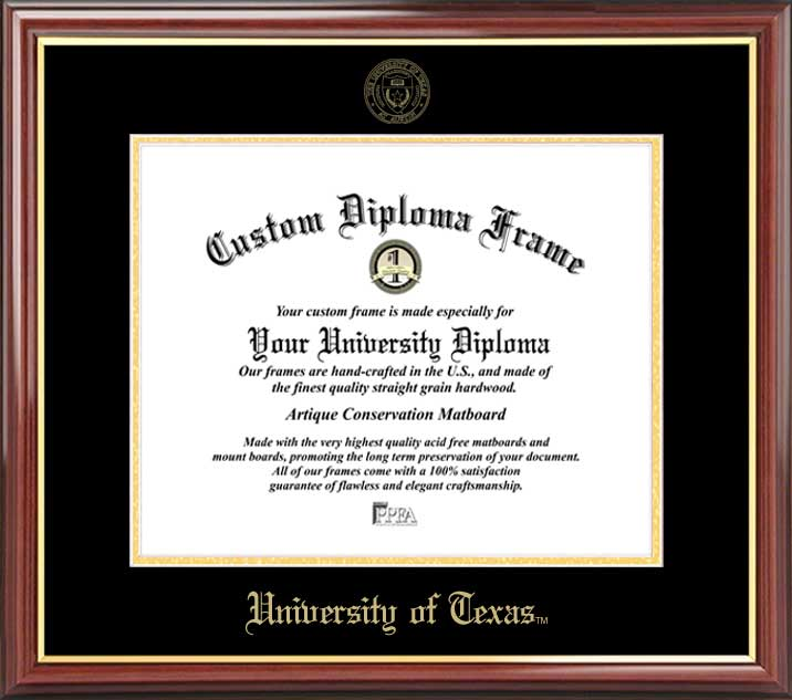 College - University of Texas at Austin Longhorns - Embossed Seal - Mahogany Gold Trim - Diploma Frame