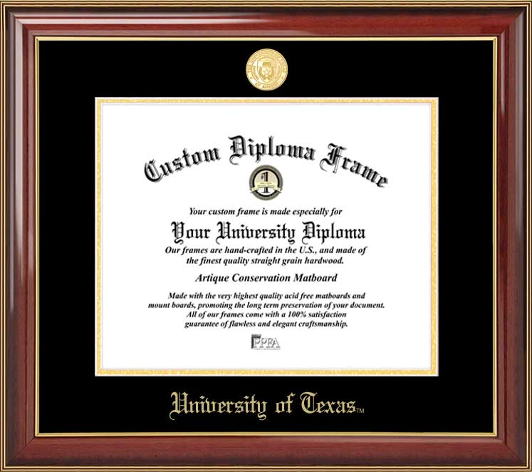 College - University of Texas at Austin Longhorns - Gold Medallion - Mahogany Gold Trim - Diploma Frame