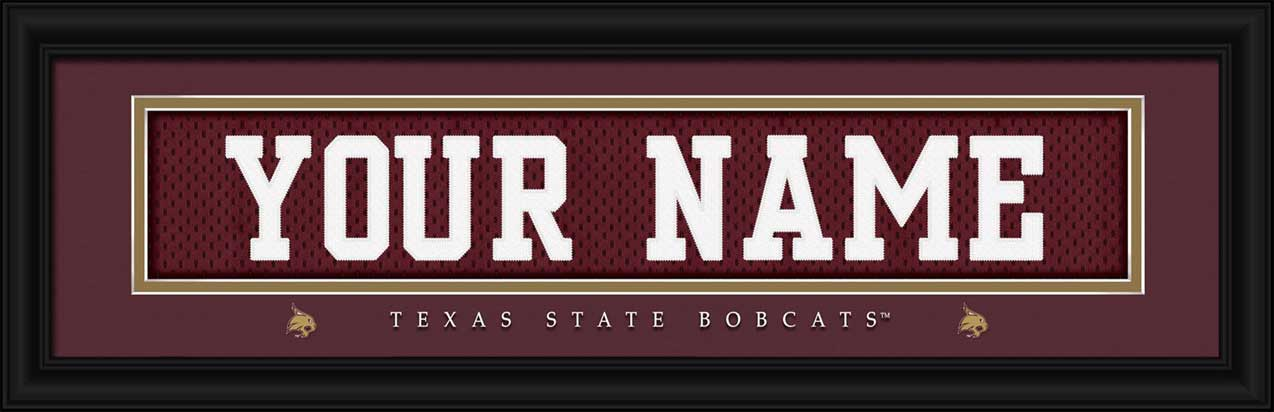 College - Texas State Bobcats - Personalized Jersey Nameplate - Framed Picture