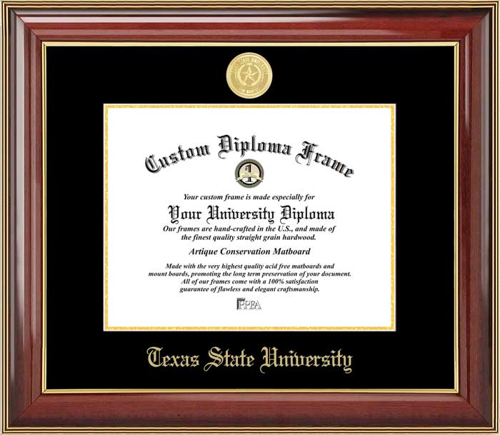 College - Texas State University-San Marcos Bobcats - Gold Medallion - Mahogany Gold Trim - Diploma Frame