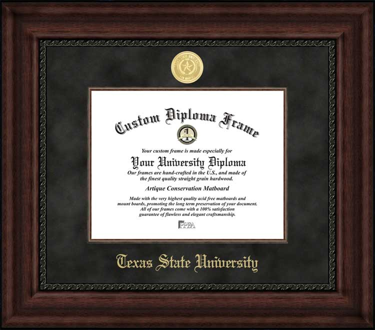 College - Texas State University-San Marcos Bobcats - Gold Medallion - Suede Mat - Mahogany - Diploma Frame