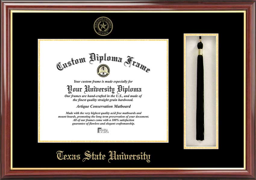 College - Texas State University-San Marcos Bobcats - Embossed Seal - Tassel Box - Mahogany - Diploma Frame