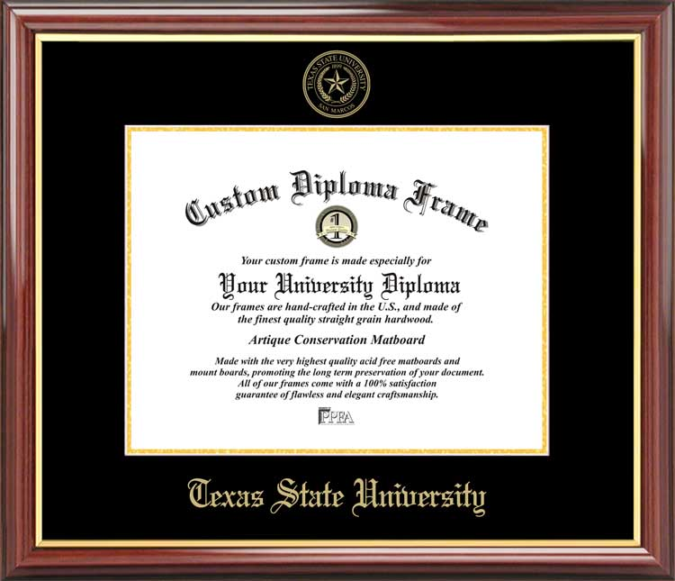 College - Texas State University-San Marcos Bobcats - Embossed Seal - Mahogany Gold Trim - Diploma Frame