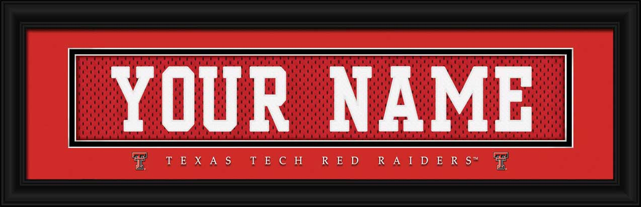 College - Texas Tech Red Raiders - Personalized Jersey Nameplate - Framed Picture