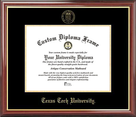 College - Texas Tech University Red Raiders - Embossed Seal - Mahogany Gold Trim - Diploma Frame