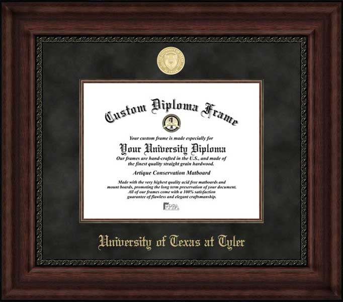 College - University of Texas at Tyler Patriots - Gold Medallion - Suede Mat - Mahogany - Diploma Frame