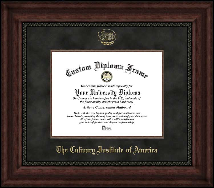 College - The Culinary Institute of America  - Embossed Logo - Suede Mat - Mahogany - Diploma Frame