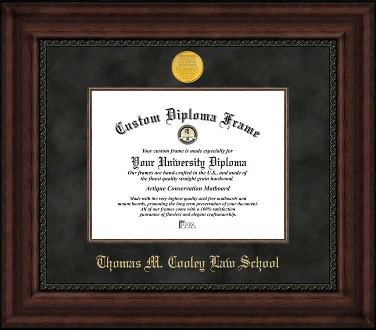 College - Thomas M Cooley Law School  - Gold Medallion - Suede Mat - Mahogany - Diploma Frame