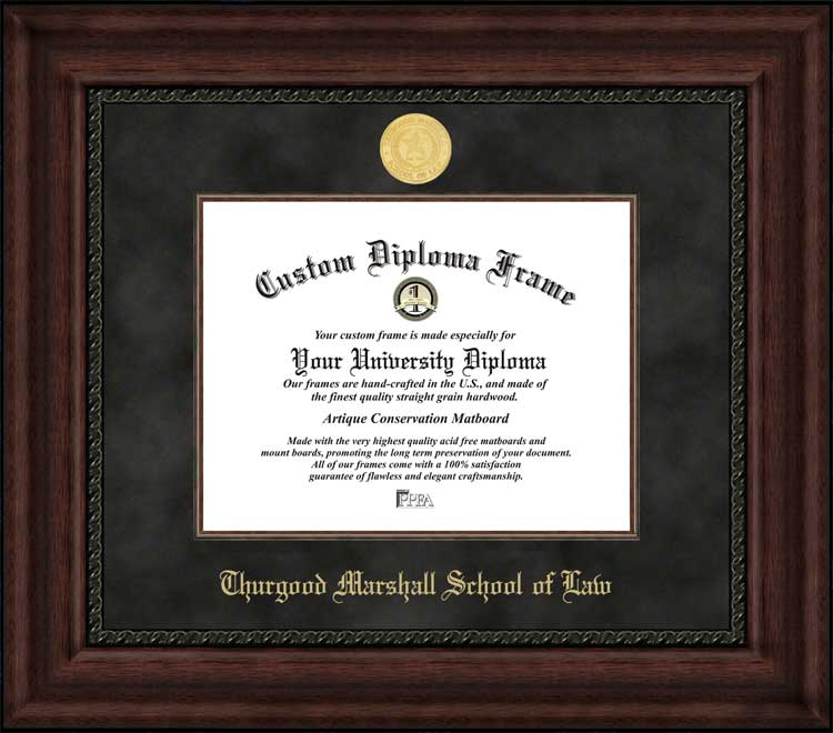 College - Thurgood Marshall School of Law  - Gold Medallion - Suede Mat - Mahogany - Diploma Frame