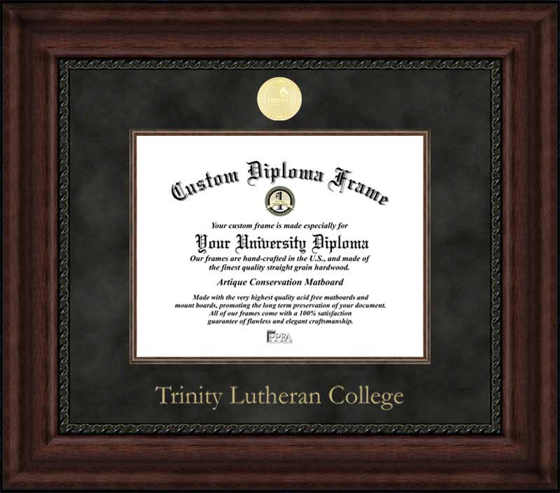 College - Trinity Lutheran College Eagles - Gold Medallion - Suede Mat - Mahogany - Diploma Frame