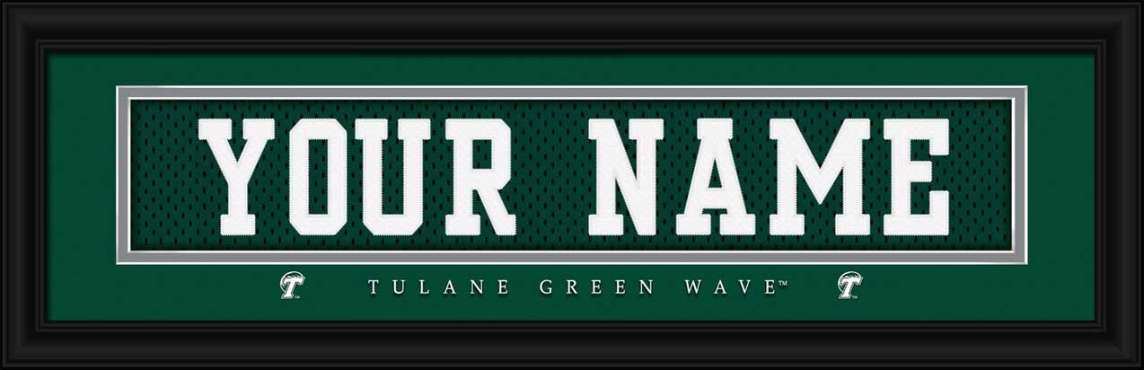 College - Tulane Green Wave - Personalized Jersey Nameplate - Framed Picture