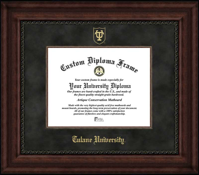 College - Tulane University Green Wave - Embossed Seal - Suede Mat - Mahogany - Diploma Frame