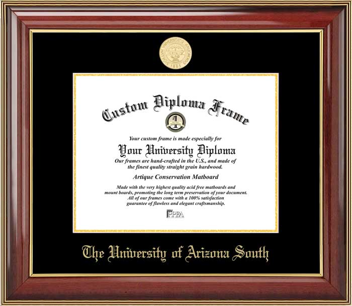 College - University of Arizona South  - Gold Medallion - Mahogany Gold Trim - Diploma Frame