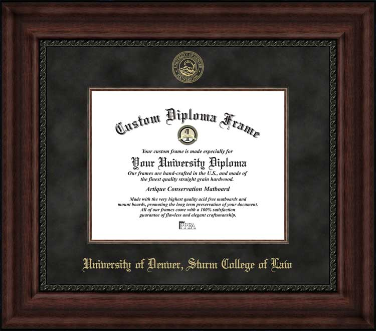 College - University of Denver Sturm College of Law  - Embossed Seal - Suede Mat - Mahogany - Diploma Frame