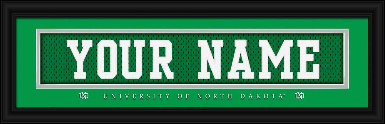 College - University of North Dakota - Personalized Jersey Nameplate - Framed Picture