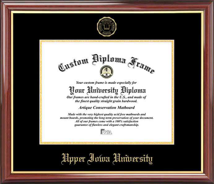College - Upper Iowa University Peacocks - Embossed Seal - Mahogany Gold Trim - Diploma Frame