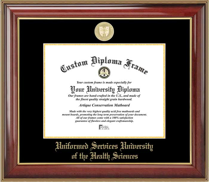 College - Uniformed Services University of the Health Sciences  - Gold Medallion - Mahogany Gold Trim - Diploma Frame