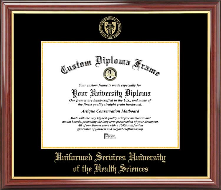 College - Uniformed Services University of the Health Sciences  - Embossed Seal - Mahogany Gold Trim - Diploma Frame
