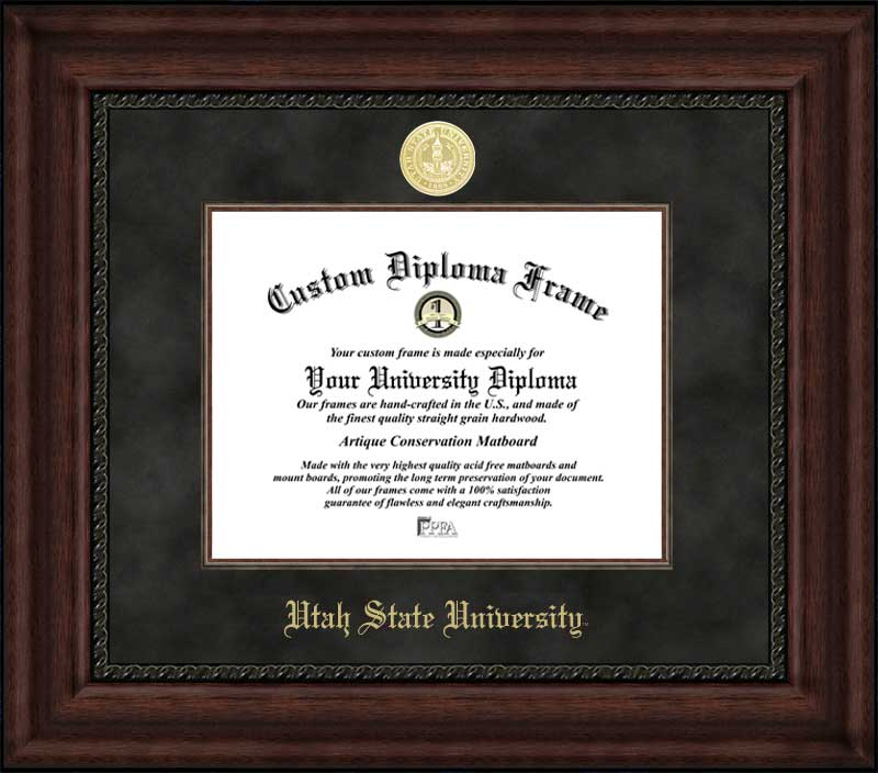 College - Utah State University Aggies - Gold Medallion - Suede Mat - Mahogany - Diploma Frame