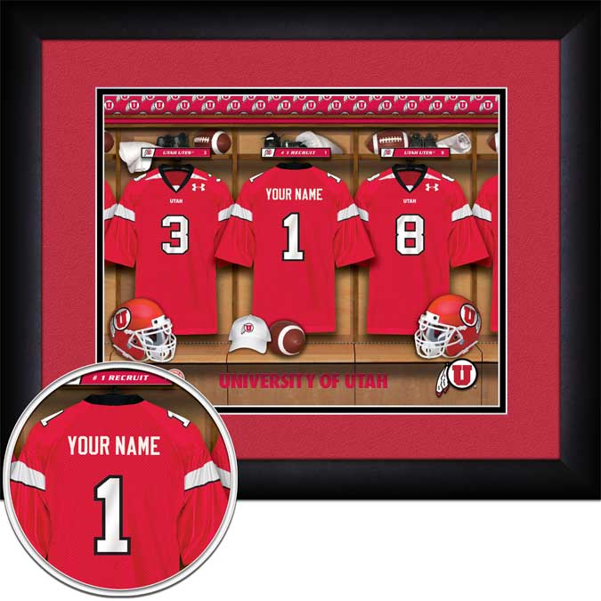 College - Utah Utes - Personalized Locker Room - Framed Picture