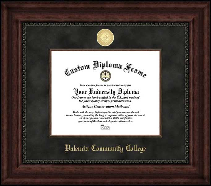 College - Valencia Community College  - Gold Medallion - Suede Mat - Mahogany - Diploma Frame
