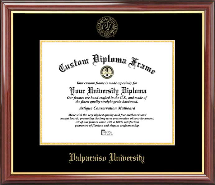 College - Valparaiso University Crusaders - Embossed Seal - Mahogany Gold Trim - Diploma Frame