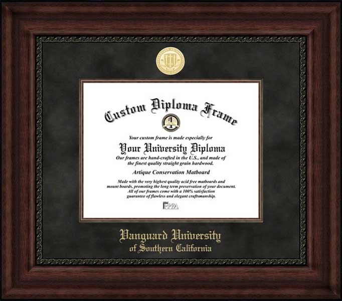 College - Vanguard University of Southern California Lions - Gold Medallion - Suede Mat - Mahogany - Diploma Frame
