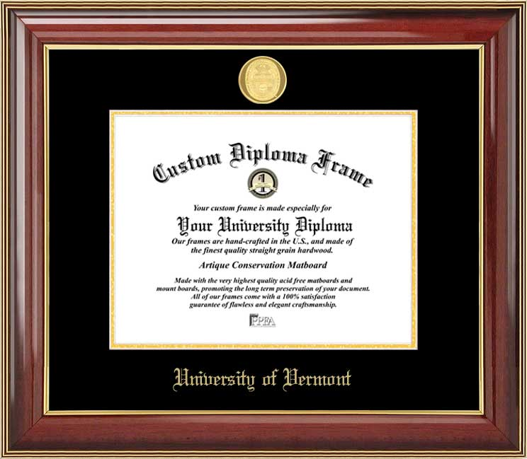 College - University of Vermont Catamounts - Gold Medallion - Mahogany Gold Trim - Diploma Frame