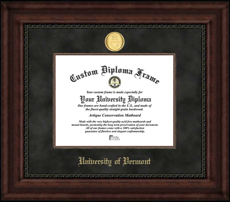 College - University of Vermont Catamounts - Gold Medallion - Suede Mat - Mahogany - Diploma Frame