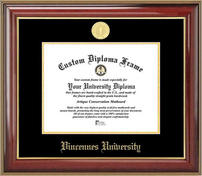College - Vincennes University Trailblazers - Gold Medallion - Mahogany Gold Trim - Diploma Frame