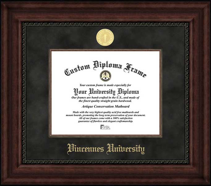 College - Vincennes University Trailblazers - Gold Medallion - Suede Mat - Mahogany - Diploma Frame