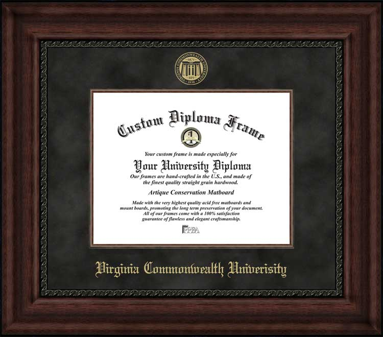 College - Virginia Commonwealth University Rams - Embossed Seal - Suede Mat - Mahogany - Diploma Frame
